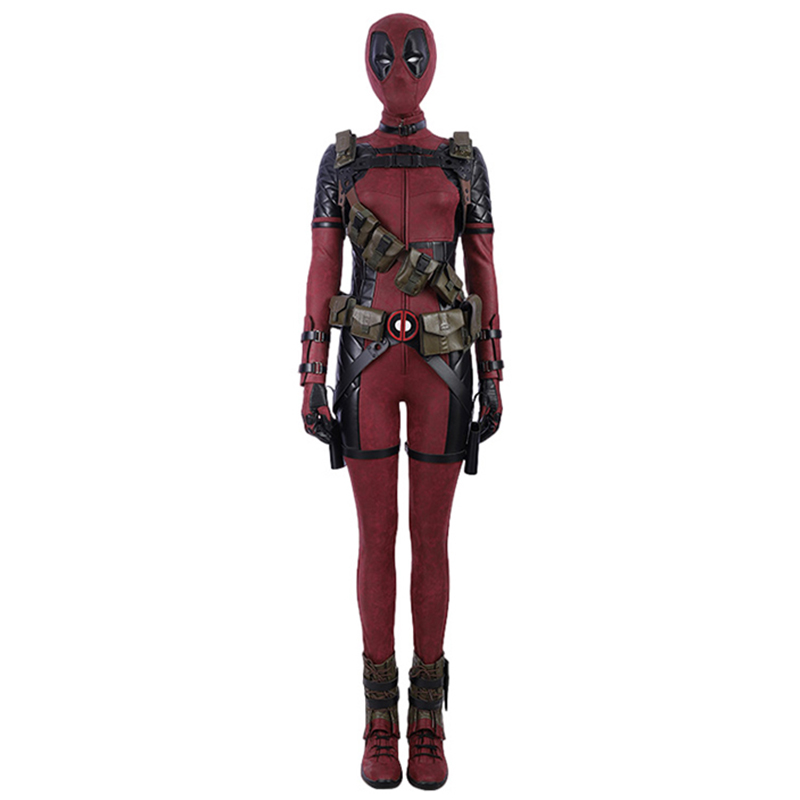 Lady Deadpool Cosplay Costume PU Jumpsuit Bodysuit Full Set Halloween Party Show Cosplay