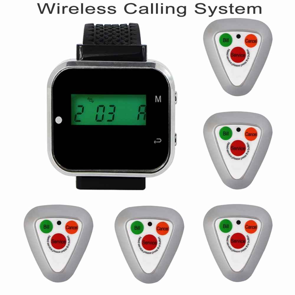 433.92MHz Wireless Calling System Watch Wrist Receiver Host +5pcs Call Transmitter Button Pager for Restaurant Equipment F3297D restaurant call bell pager system 4pcs k 300plus wrist watch receiver and 20pcs table buzzer button with single key