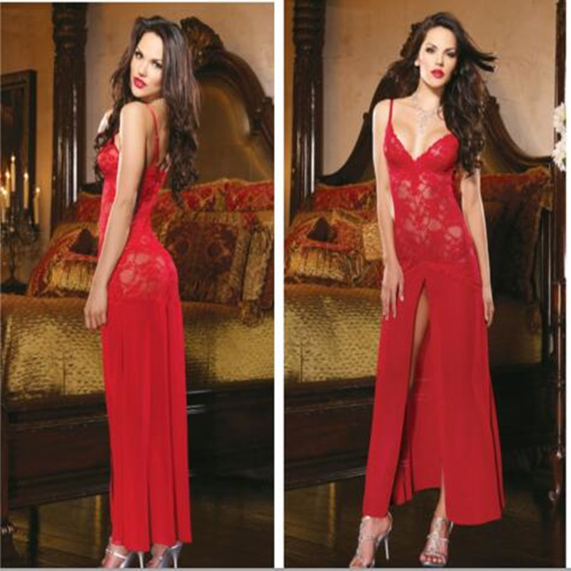 ⑤Hot sale Black White Red Lingerie Nightgown Gown Long Lace ...