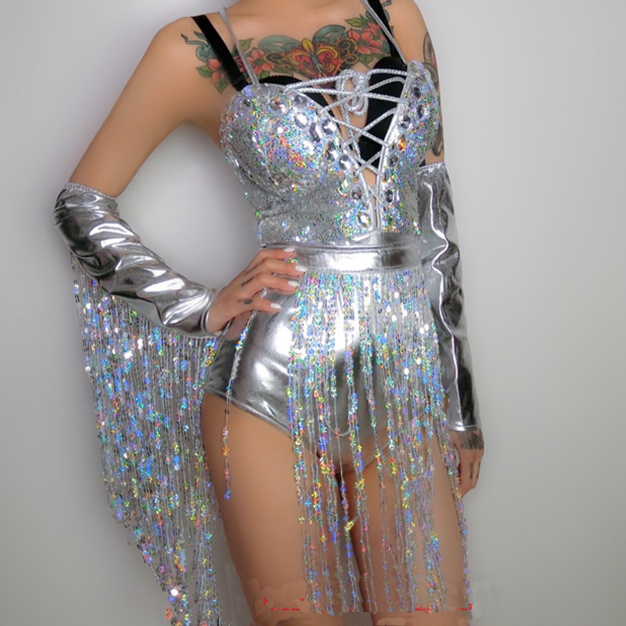 holographic sequin fringe bodysuit jumpsuit festival rave