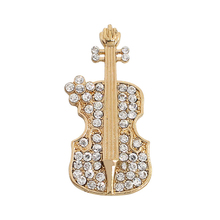 Exquisite Fashion Golden Violin Brooch Pin Instrument Alloy Full Rhinestone Male And Female Jewelry