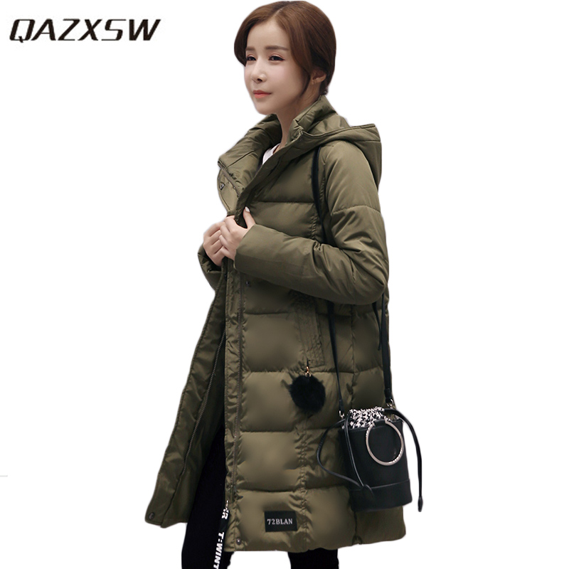 QAZXSW 2017 New Winter Cotton Jacket Women Basic Jackets Hooded Thick Winter Coat Casual Long Parkas Padded Abrigos Mujer HB329 qazxsw 2017 new winter cotton coat women slim hooded jacket two sides wear long parkas fur collar winter padded abrigos hb339