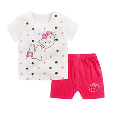 Hot Cartoon Cotton Summer Clothing Sets Baby Boy Girl Infant Fashion Outerwear Clothes Suit T-shirt+Pant Suit baby Boy Cloth(China)