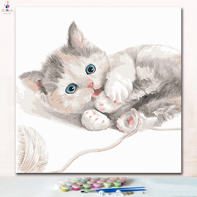 Naughty cut cat paintings pictures by numbers on canvas drawing numbers paint picture by the number with colors for children Naughty cut cat paintings pictures by numbers on canvas drawing numbers paint picture by the number with colors for children