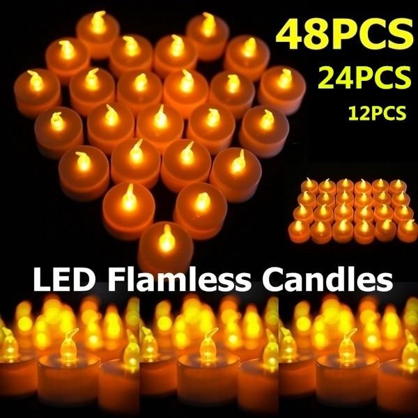 12/24/48PCS Flameless Smokeless Flickering Romantic LED Tea Light Candles Realistic Flamless Candles Battery Party WeddingDecor
