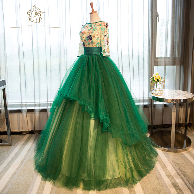 Green Ball Gown Embroidered