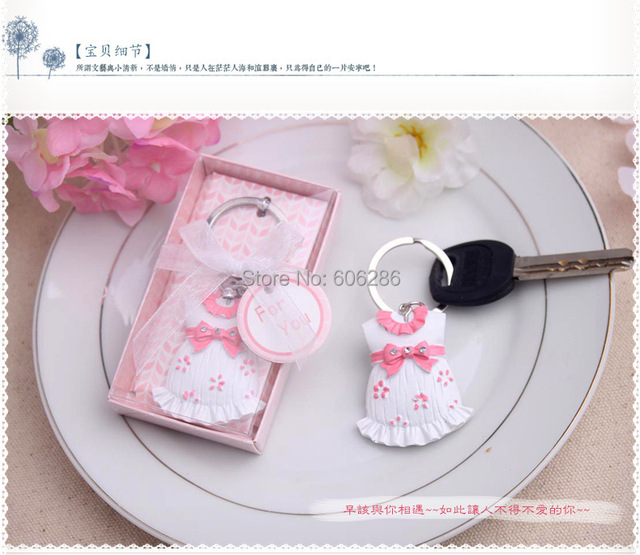 Wholesale 100pcs/lot Cute Baby Themed Pink/blue Baby Clothes Keychain Favors  For Christening