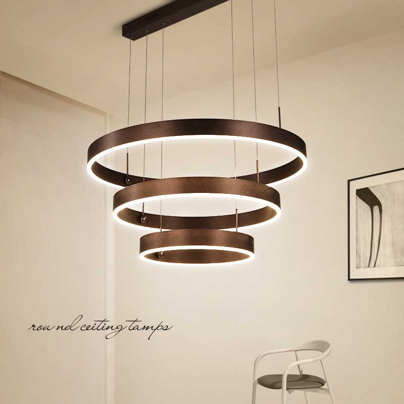 Brown color Modern Rings LED chandelier lights for livingroom diningroom lampadario moderno Lustre Chandelier Lighting Fixtures