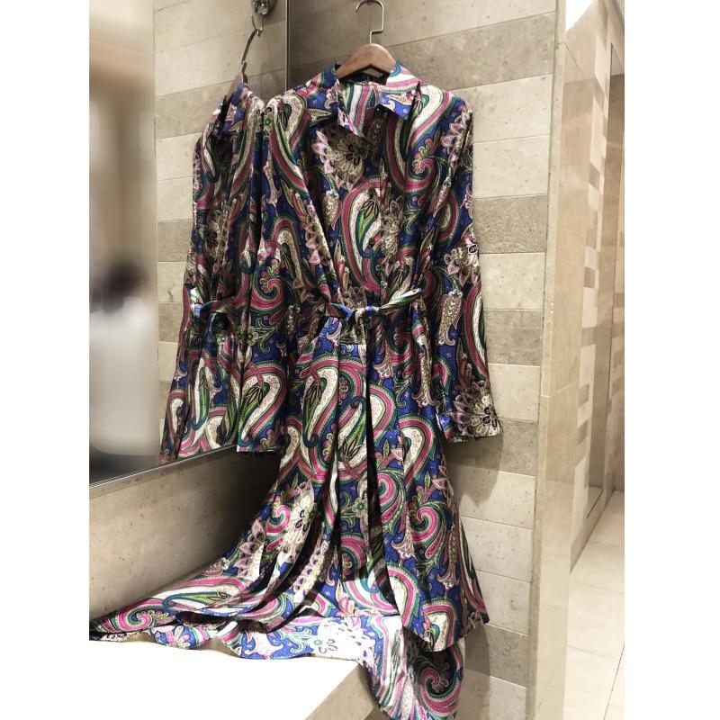 Vintage 2019 Revers Femmes Sergé Haute Mode Ample Robe