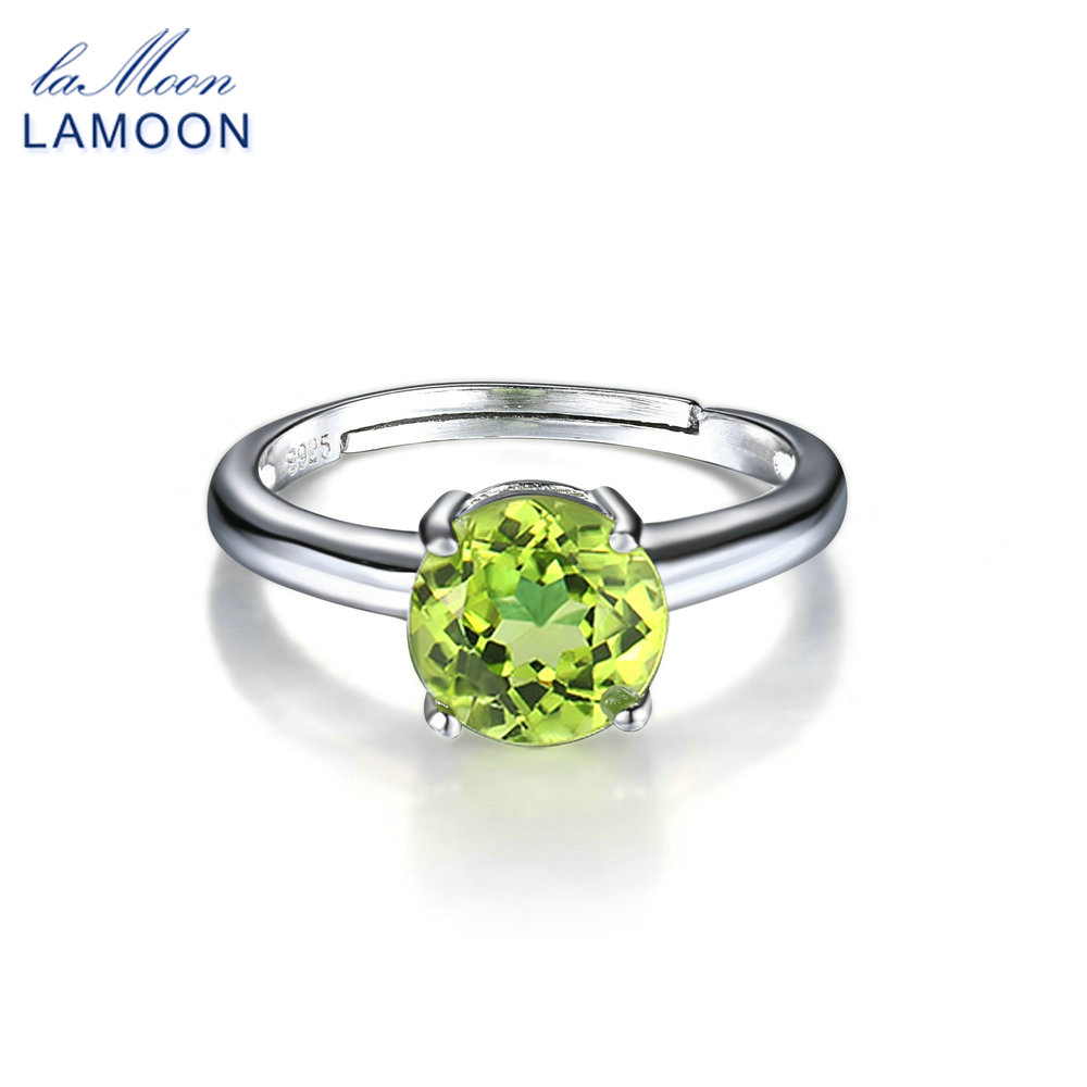 LAMOON 2018 New Natural 0.8cm Peridot S925 Adjustable Rings Silver Color 925-Sterling-Silver Gemstone Fine Jewelry LMRI063