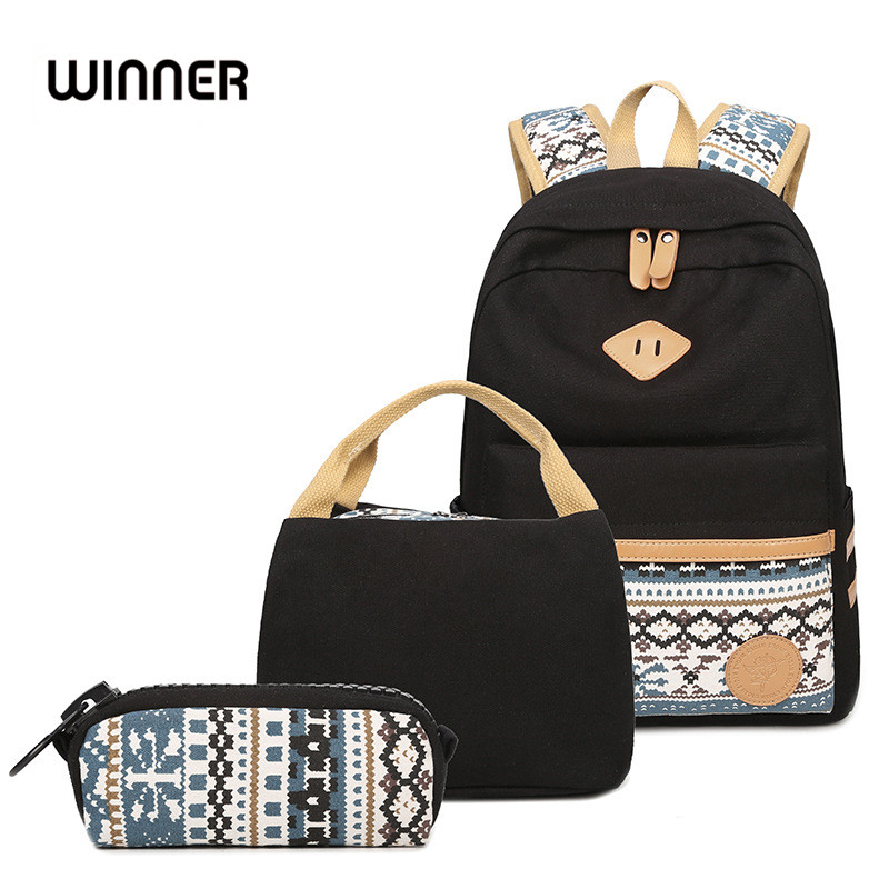 Female Casual Preppy Style Canvas Women Travel Backpack -2278