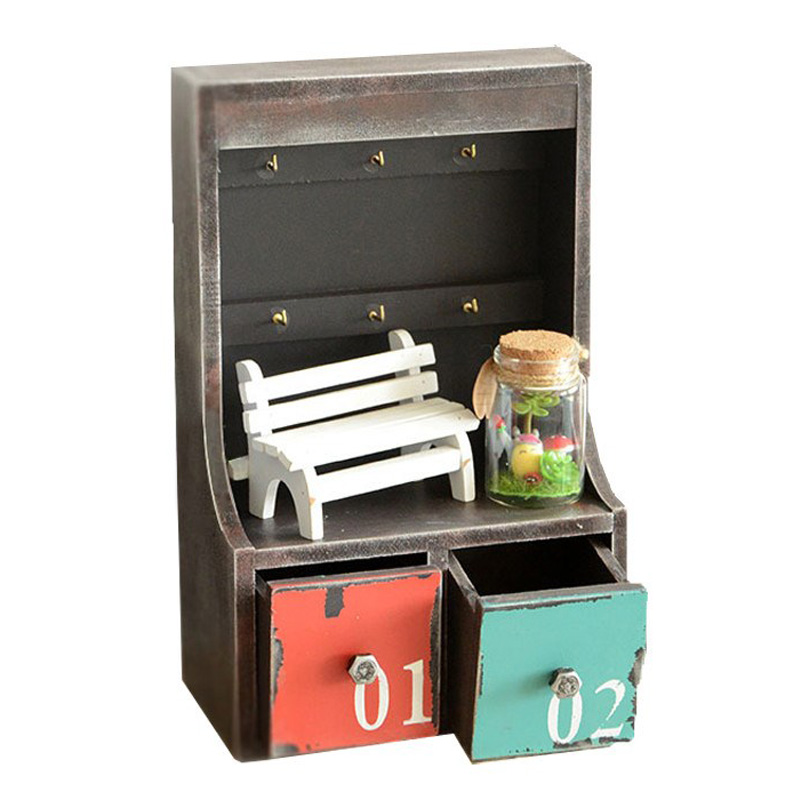 Femme de ménage Vintage Vieux En Bois 2 Tiroir Boîte À Clés De Stockage Cabinet Ornements Creative Rétro En Bois Storge Boîte Décoration de La Maison Cadeaux