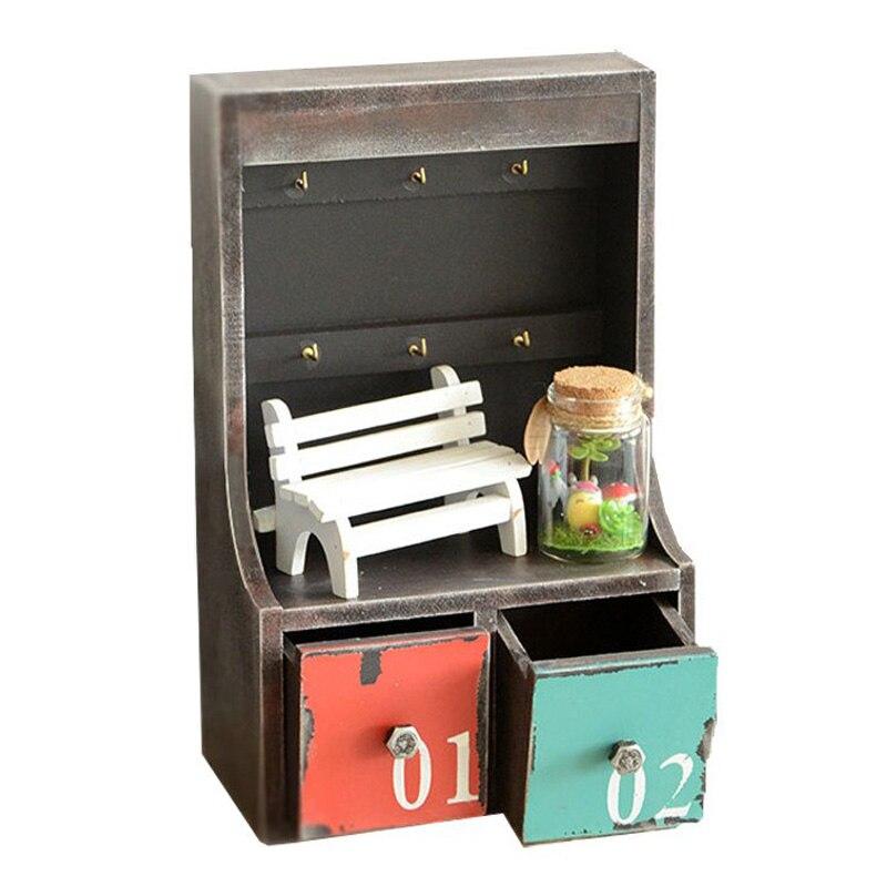 Ménagère Vintage ancien en bois 2 tiroir clé boîte rangement armoire ornements créatif rétro en bois Storge boîte maison décoration cadeaux