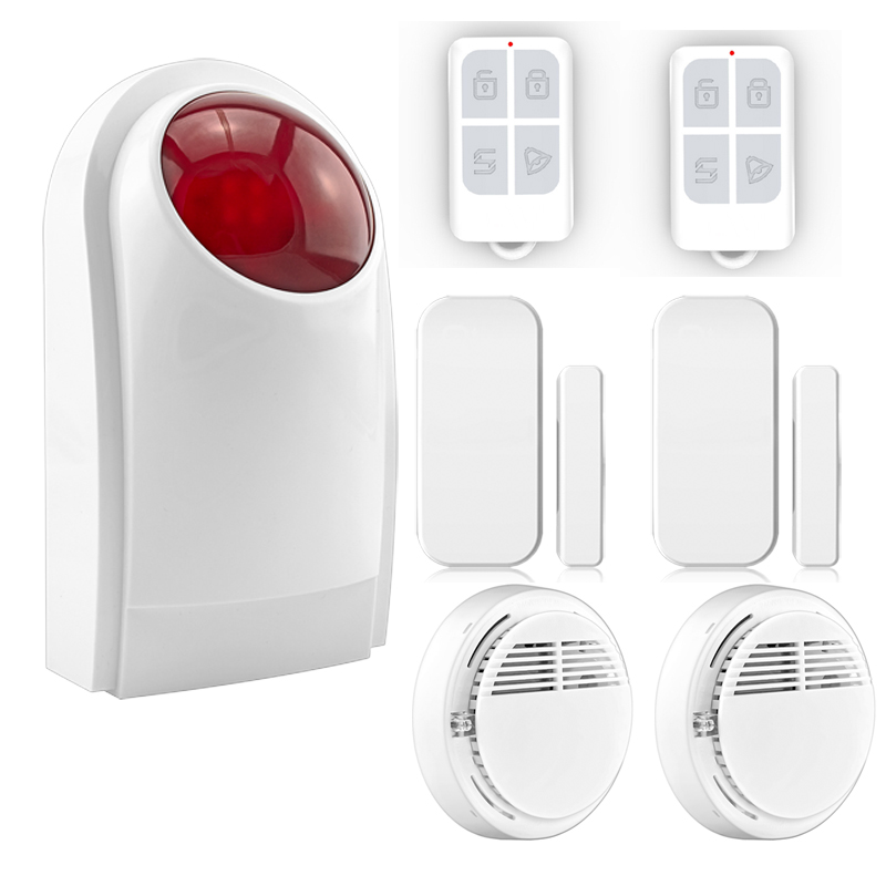 433MHz Security Alarm Mainframe Kits Security Alarm System Wireless Door Sensor Remote Control Smoke Detector for Home Security wireless vibration break breakage glass sensor detector 433mhz for alarm system