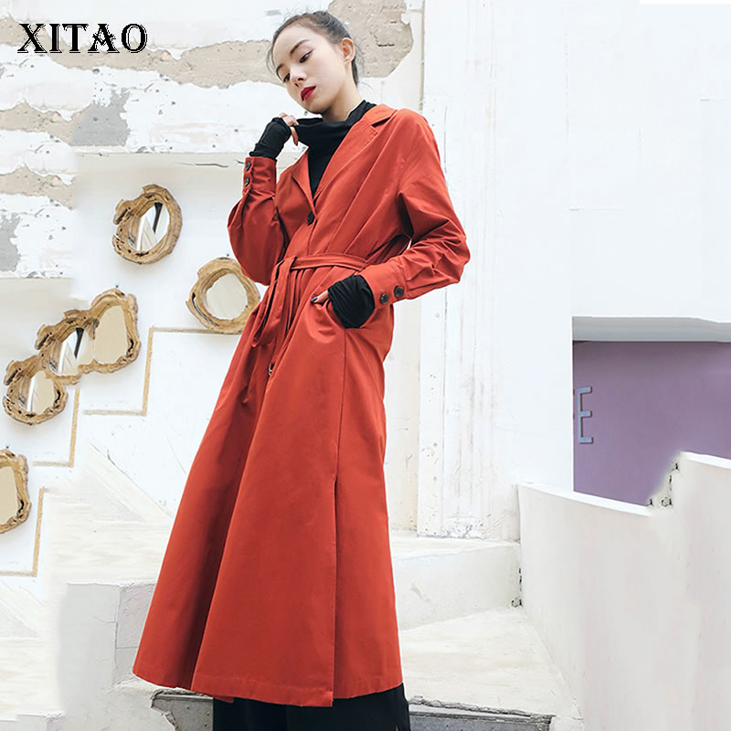 [XITAO] Long Women New 2019 Spring Single Breasted A-line Solid Color Turn-down Collar Full Sleeve Casual Loose   Trench   DLL2356
