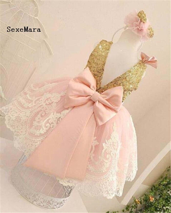 Bébé filles robe dos ouvert paillettes d'or top fleur fille robe pour événement spécial enfant en bas âge photoshoot fête enfants robe de soirée