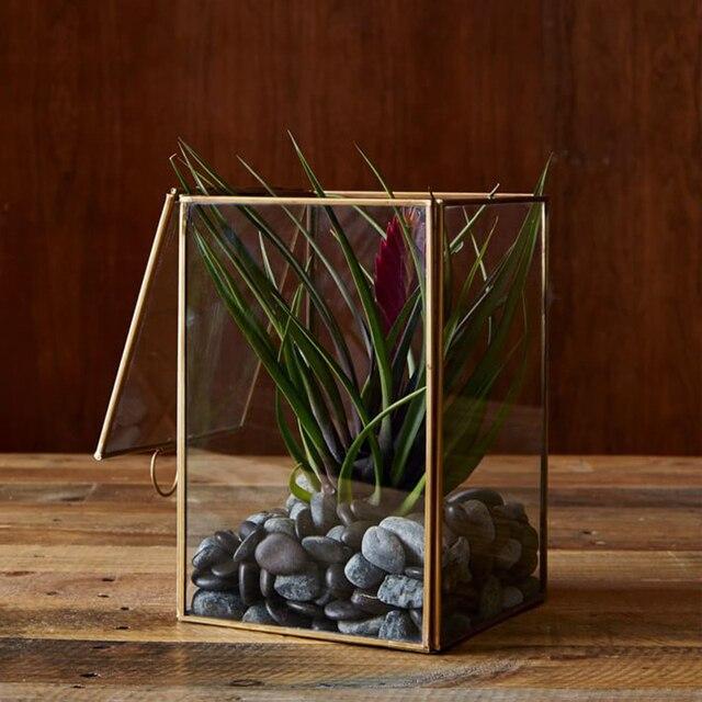 Rechthoekige Glazen Tafel.Rechthoekige Glazen Stamped Miniaturen Planter Vaas De Kas Tafel