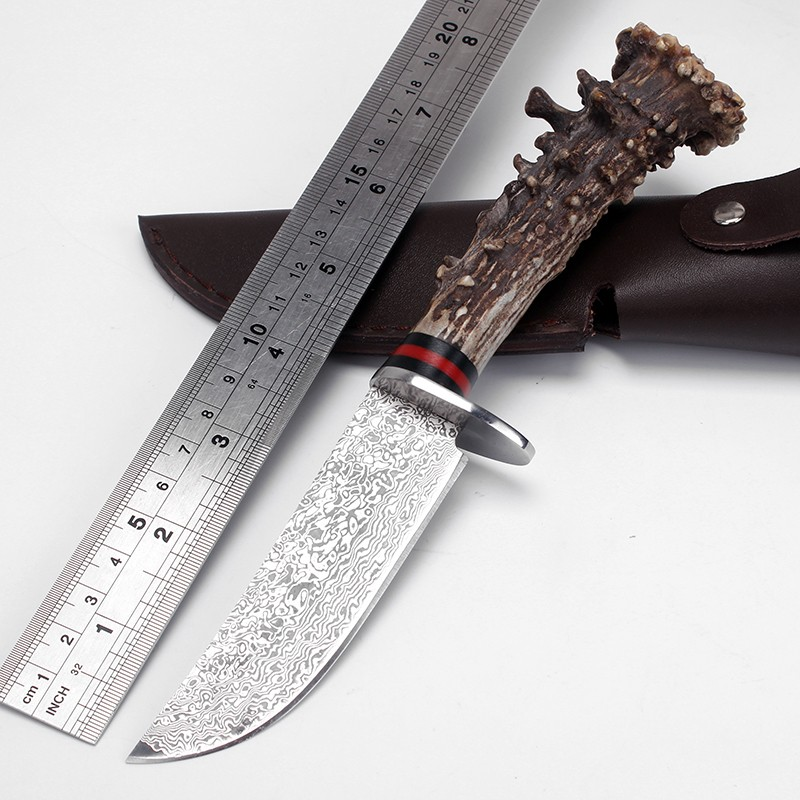 Real Japanese Damascus steel Handmade Forged Damascus Hunting font b Knife b font Antler handle survival