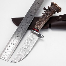 Real Japanese Damascus steel Handmade Forged Damascus Hunting Knife Antler handle survival tactical knife Genuine Leather sheath