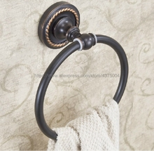 цена на Bathroom towel holder, brass Wall-Mounted Round Black Oil Rubbed Brass Towel Ring ,Towel Rack Nba214