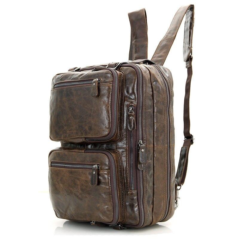 Pour hommes porte-documents fourre-tout en cuir véritable hommes Messenger sacs voyage pochette d'ordinateur d'affaires en cuir de vache sac à bandoulière portefeuille # J7014 - 4
