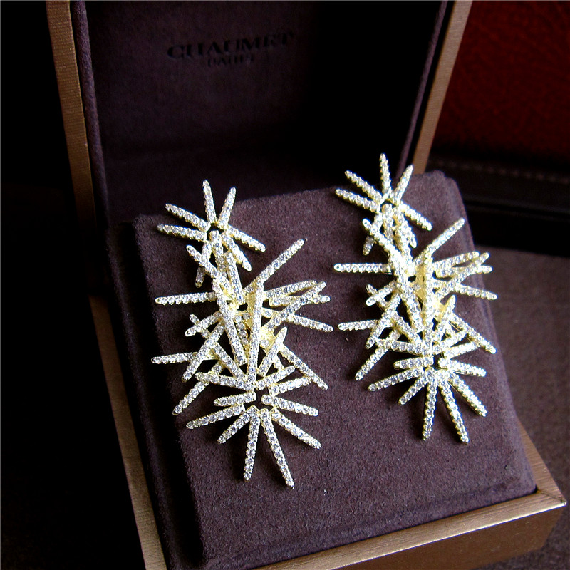 Fashion AAA cubic zirconia fireworks shaped full stones drop earrings ,gorgeous womens accessaries,yellow colour, H8951G