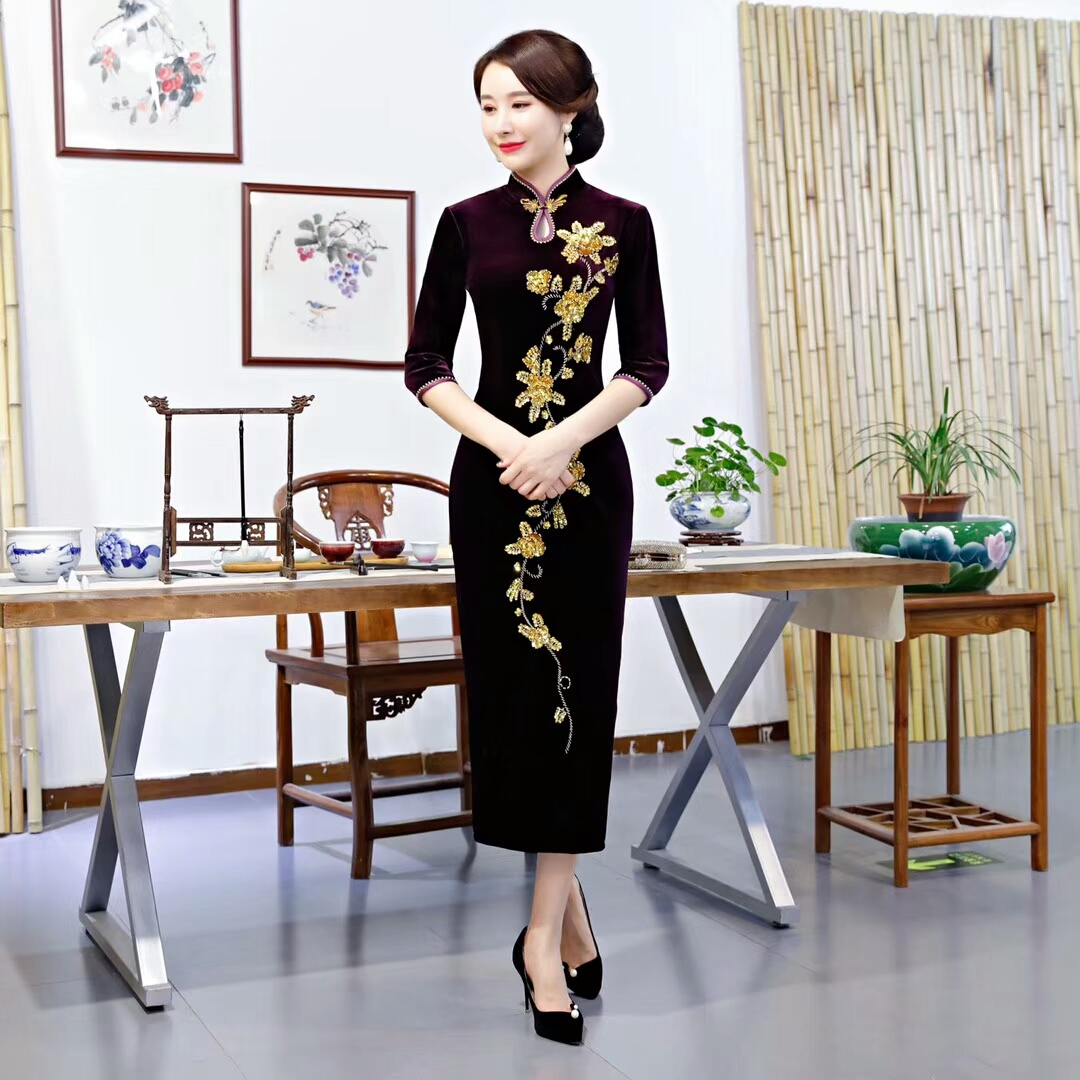 f3c95a8a300 Partie bourgogne Femmes Perles Mince S Broderie Pourpre Printemps Taille  Style Qipao Paillettes Chinois 5xl Velours Robes ...