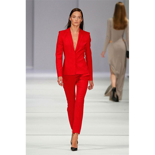 Custom Womenu0026#39;s Trouser Suit Red OL Ladies Pant Suit Botched Formal Business Office Unifrom Work ...