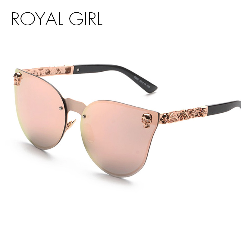 ROYAL GIRL Cat Eye Kvinnor Solglasögon Rimless Skull Frame Metal Temple Oculos Mirror Glasses feminino UV400 Flower Leg ss147