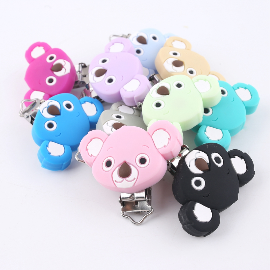 Bite Bites Silicone Baby Purple Pacifier Clips Animal Koala Head Shaped Soother Holder For Infant Pacifier Nipples Baby Teether ...