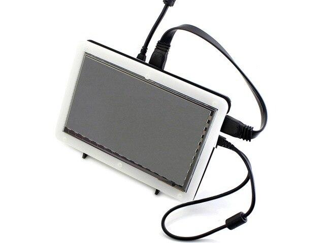 7 hdmi-дюймовый ЖК-(C) (с двухцветный чехол) 1024*600 Емкостный Сенсорный Экран Поддержка Raspberry Pi B 2/3 Банан П. и.