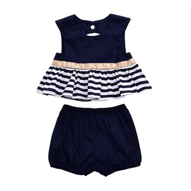 0-18M Summer Newborn Infant Baby Girls Kids Cotton Navy Ruffles Striped Dress Blouse Tops +Pants Outfit 2PCS Set Clothes Sunsuit 2pcs ruffles newborn baby clothes 2017 summer princess girls floral dress tops baby bloomers shorts bottom outfits sunsuit 0 24m