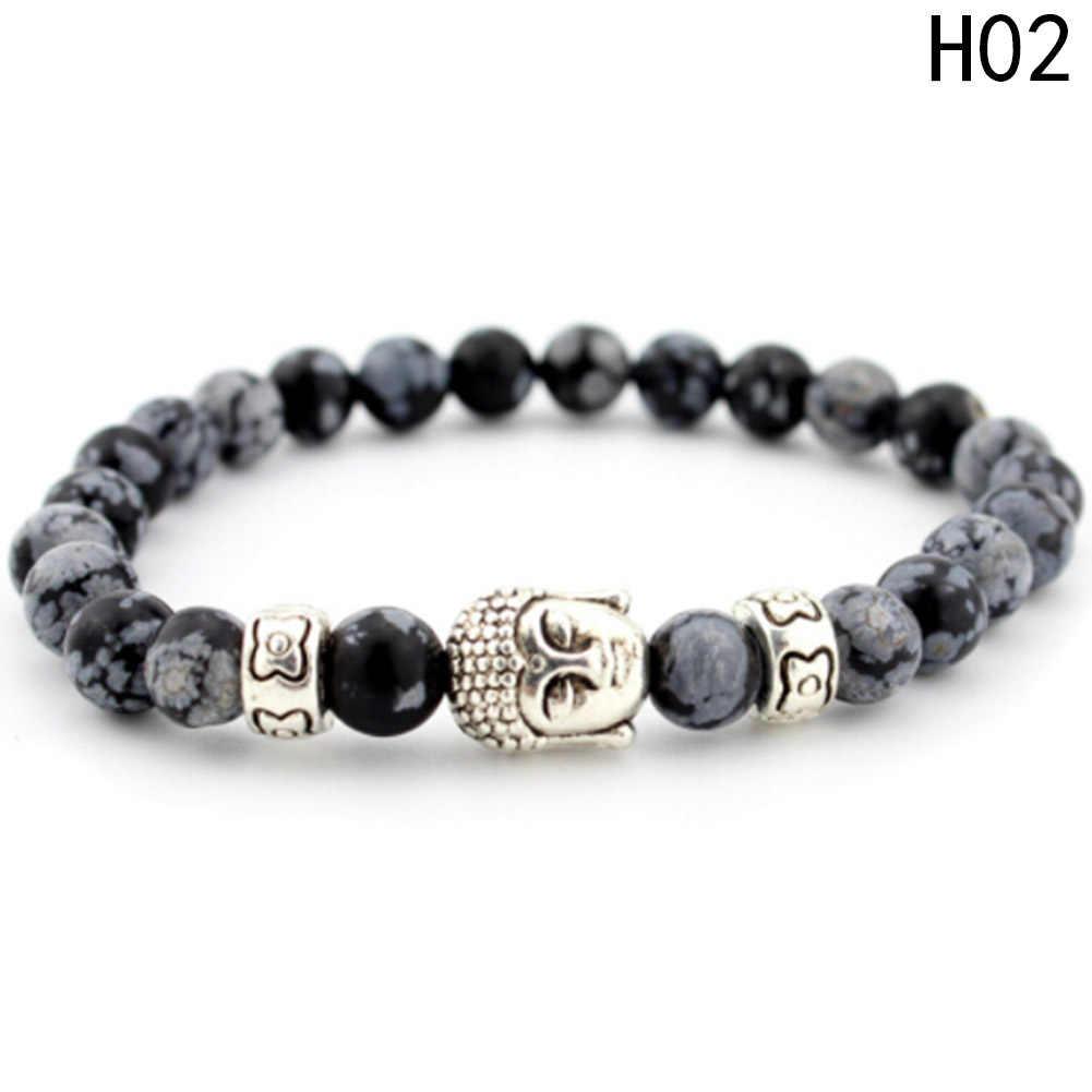 Мужской браслет с головой Будды, бисерные браслеты и браслеты ручной работы, эластичная лента, украшение на нитке, аксессуары для мужчин