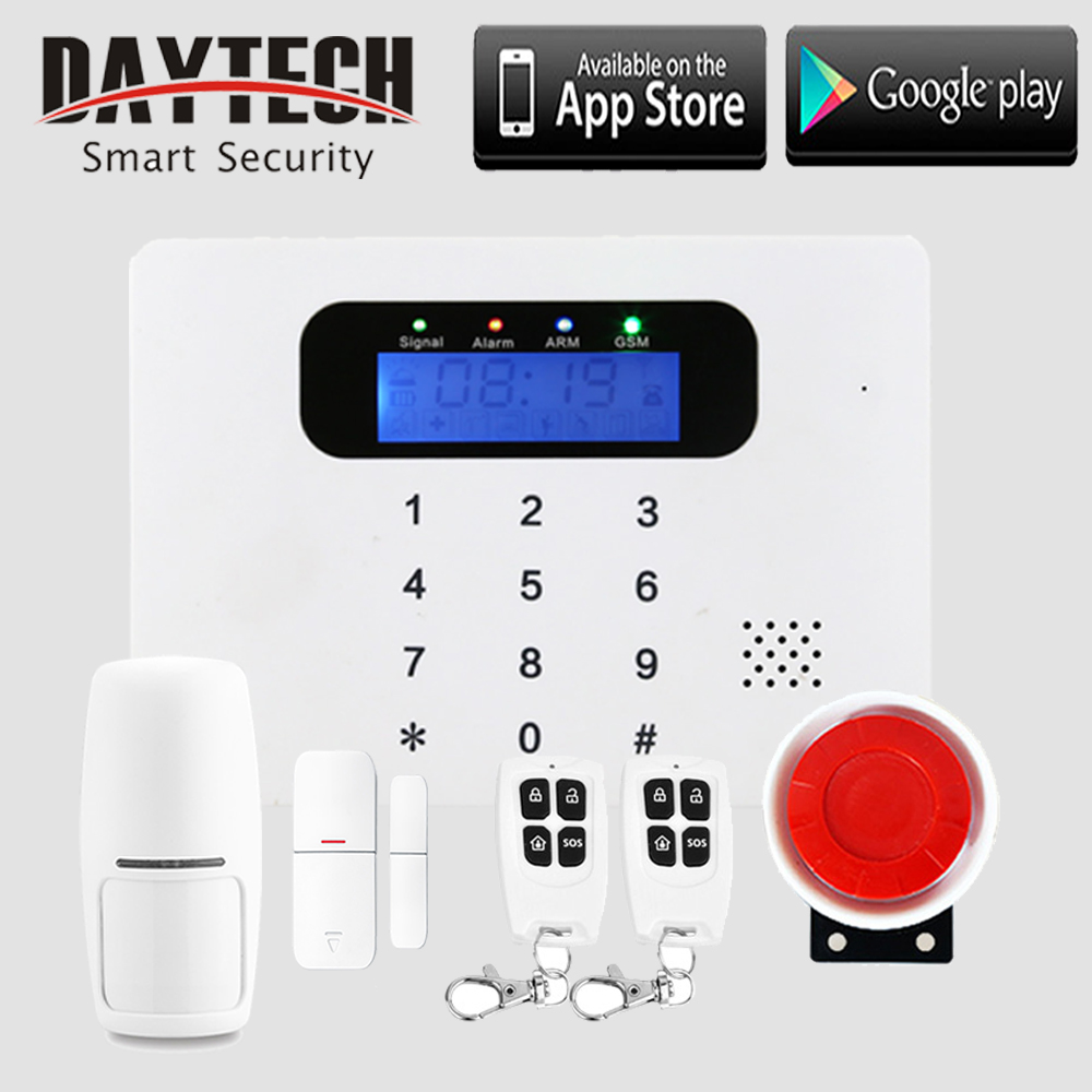 DAYTECH Wireless GSM Alarm System APP Control(IOS/Android) WiFi Home Burglar Alert Security System with PIR Detector Door Sensor new dc5v wifi ibox2 mi light wireless controller compatible with ios andriod system wireless app control for cw ww rgb bulb