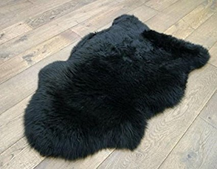 Black Genuine Sheepskin Rug Sofa Cover Chair Pad 60x90cm Real Zealand Australian Wool