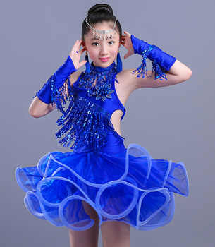 2018 New Design Girls Latin Dance Dresses Performance Clothing Professional Tassel Latin Dress Stage Dance Clothes for Kids