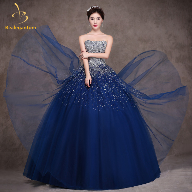 Bealegantom Bleu Royal Quinceanera Robes robe de Bal 2017 Perlée En Cristal Lace Up Doux 15 16 Robes Robes De 15 Anos QA1097
