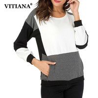 VITIAVA Women Casual Pullovers Sweatshirt Autumn Black And White Patchwork Long Sleeve Female Elegant Tops Pocket