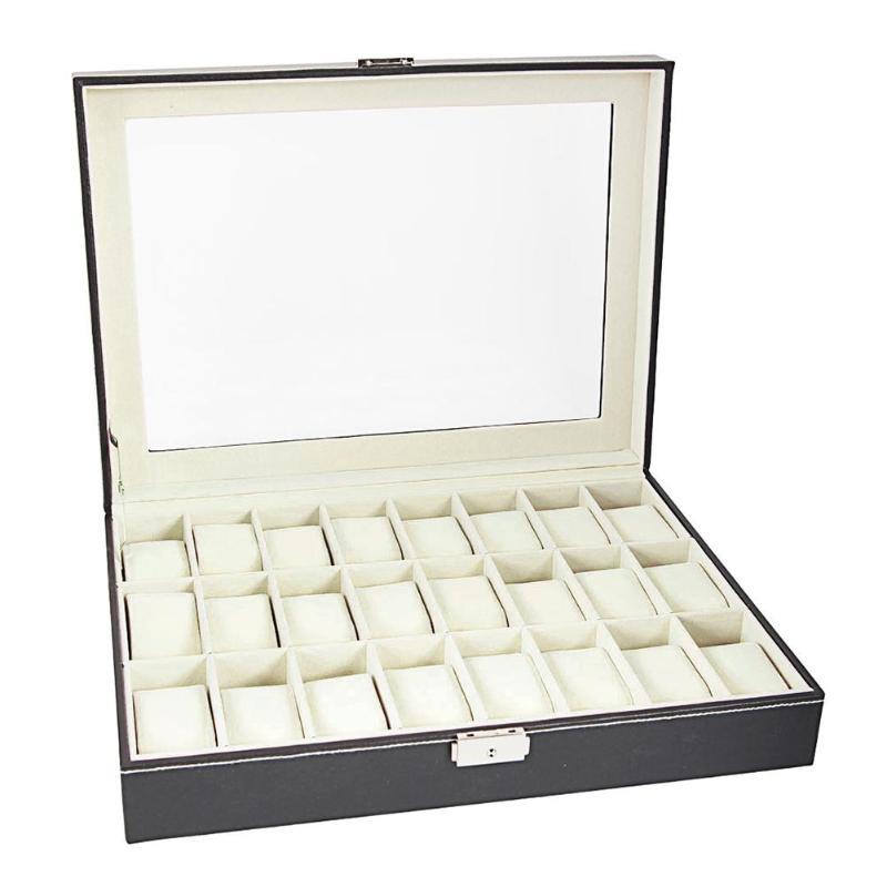24 Compartments Black Leather Wrist Watch Display Box Storage Holder Organizer Watch Case Jewelry Case Collection Box24 Compartments Black Leather Wrist Watch Display Box Storage Holder Organizer Watch Case Jewelry Case Collection Box