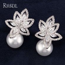 RAKOL Trenday AAA+Cubic Zircon Flowers Imitation Pearl Wedding Stud Earrings For Brides Crystal Jewelry Accessories