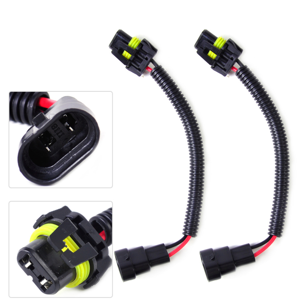 beler Car Styling PVC Plastic & Nylon 2pcs Black HB4 9006 9012 Extension Wiring  Harness Socket Plug Wire for Headlight Fog Light-in Cables, ...