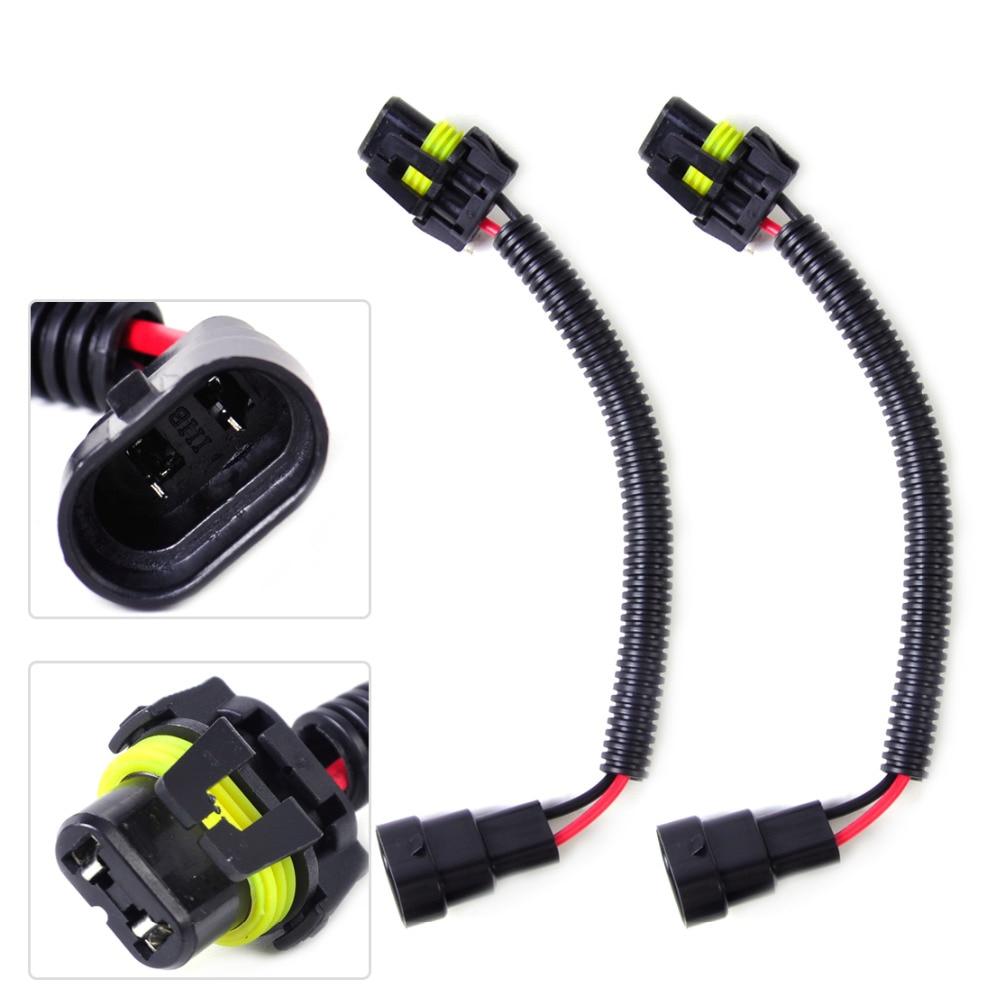 hight resolution of beler car styling pvc plastic nylon 2pcs black hb4 9006 9012 extension wiring harness socket plug wire for headlight fog light