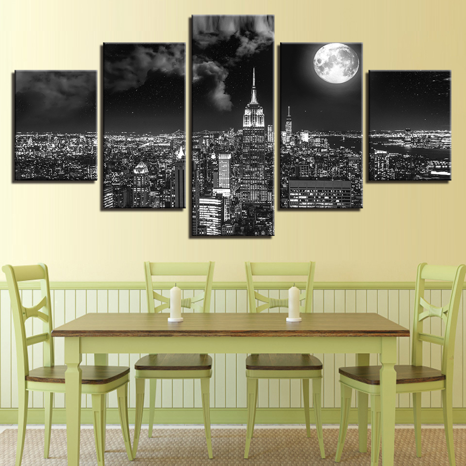 Canvas Prints Poster Wall Art Pictures 5 Pieces Surreal City Night ...