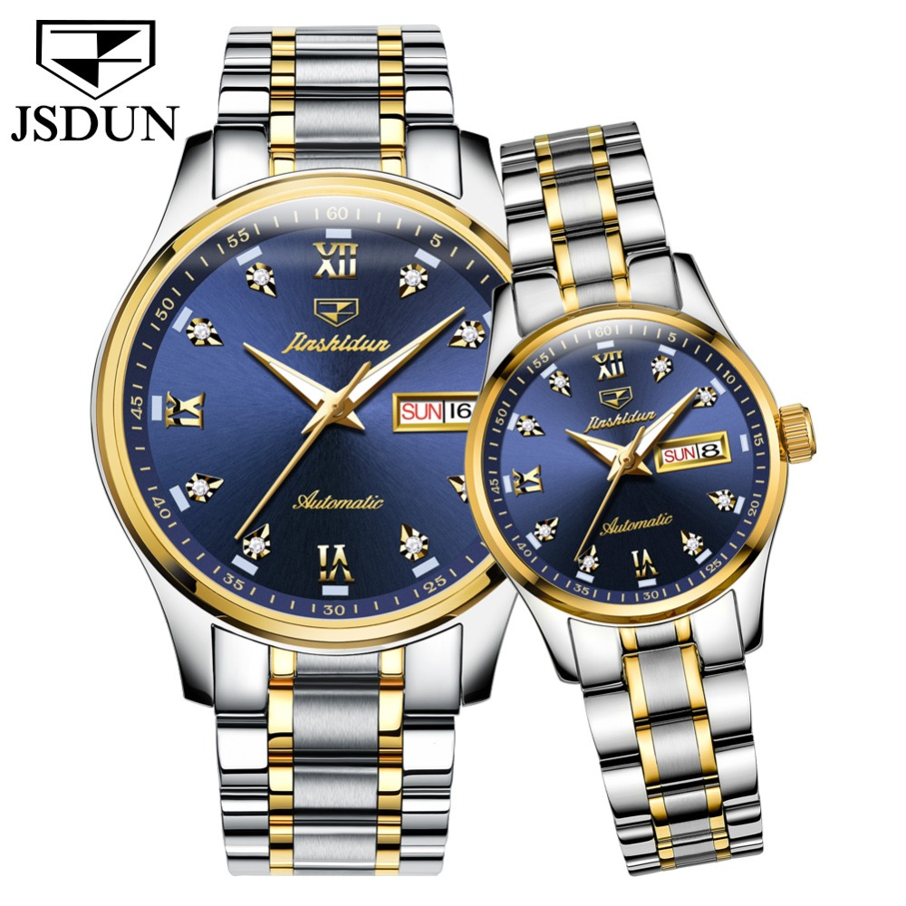 JSDUN Blue Dial Automatic Self-Wind Movement High Quality Luxury Couples Watch Luminous Waterproof Mechanical Watches Men Women