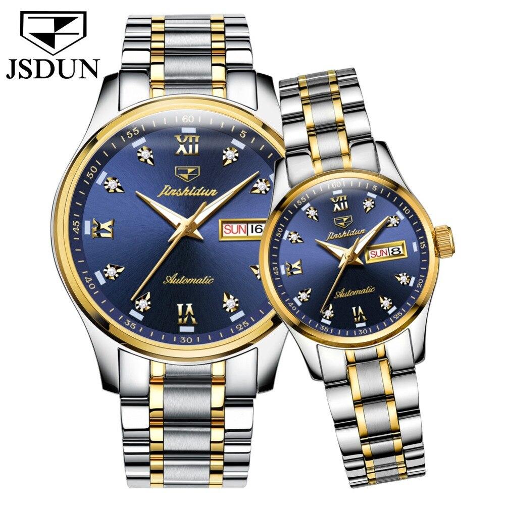 Auto-vento de Alta Casais de Luxo Mecânico à Prova Relógios para Mulheres dos Homens Jsdun Blue Dial Movimento Automático Qualidade Relógio d' Água Luminosa