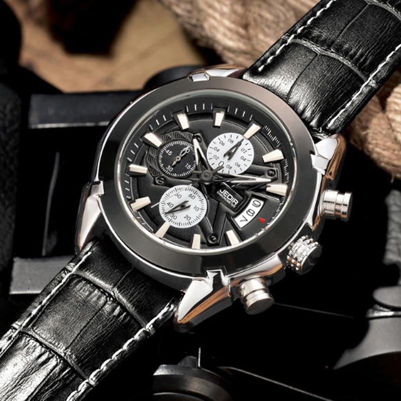2017 jedir men watches top popular brand luxury hot sport quartz chronograph watch men black for Celebrity watches male 2017