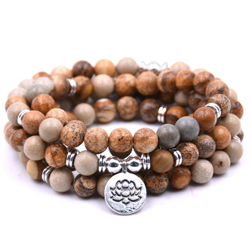 DIEZI Yoga 108 Mala Perlen Armbänder Mit Lotus OM Buddha Charme Armband Ethnische Halskette Natürliche stein schmuck dropshipping
