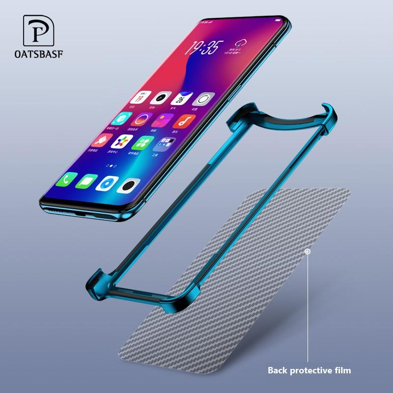 OATSBASF Luxury Metal Frame Shape Shockproof Case For OPPO Find X Protect Case Push-pull Design Back Phone Cover Case Bumper
