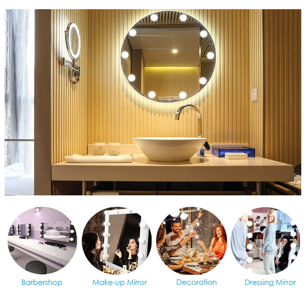 White Warm White Yellow Makeup Mirror Vanity LED Light Bulbs Kit USB Power 10 Led Bulbs Cosmetic Make Up Mirrors Bulb Adjustable