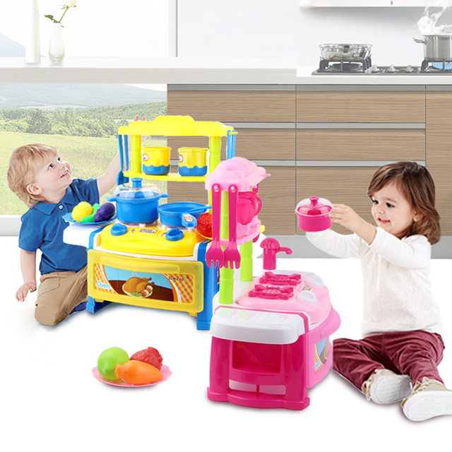 Kids Light Music Tableware Kitchen Sets Pretend Play Toy Electronic Dinning Cooking Simulation House Christmas